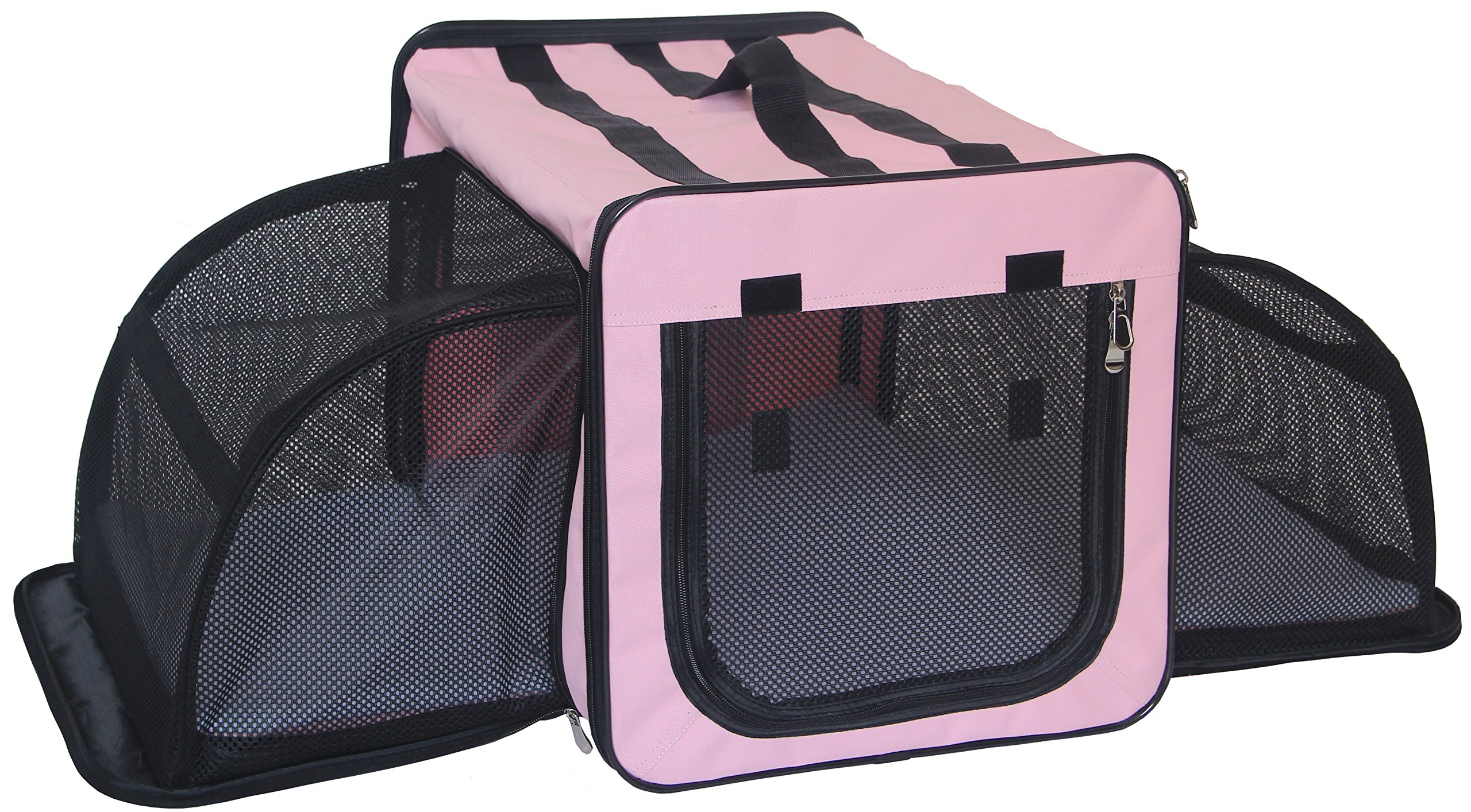 Pet Life 'Capacious' Dual-Sided Expandable Spacious Wire Folding Collapsible Lightweight Pet Dog Crate Carrier House, X-Large, Pink by Pet Life (Image #2)