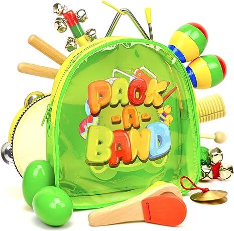 PACK-A-BAND Instrumentos musicales para niños con mini mochila para fácil limpieza y almacenamiento – Juguetes