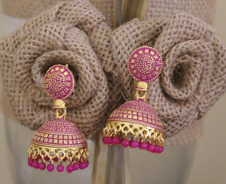 Jewel India Traditional Bollywood Wedding Gold Designer Fashion Party Pearl Beads Hoop Ethnic Bali Jhumka Jhumki Earrings