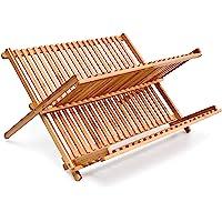 Escurridor Relaxdays para platos, de bambú, plegable de 2niveles