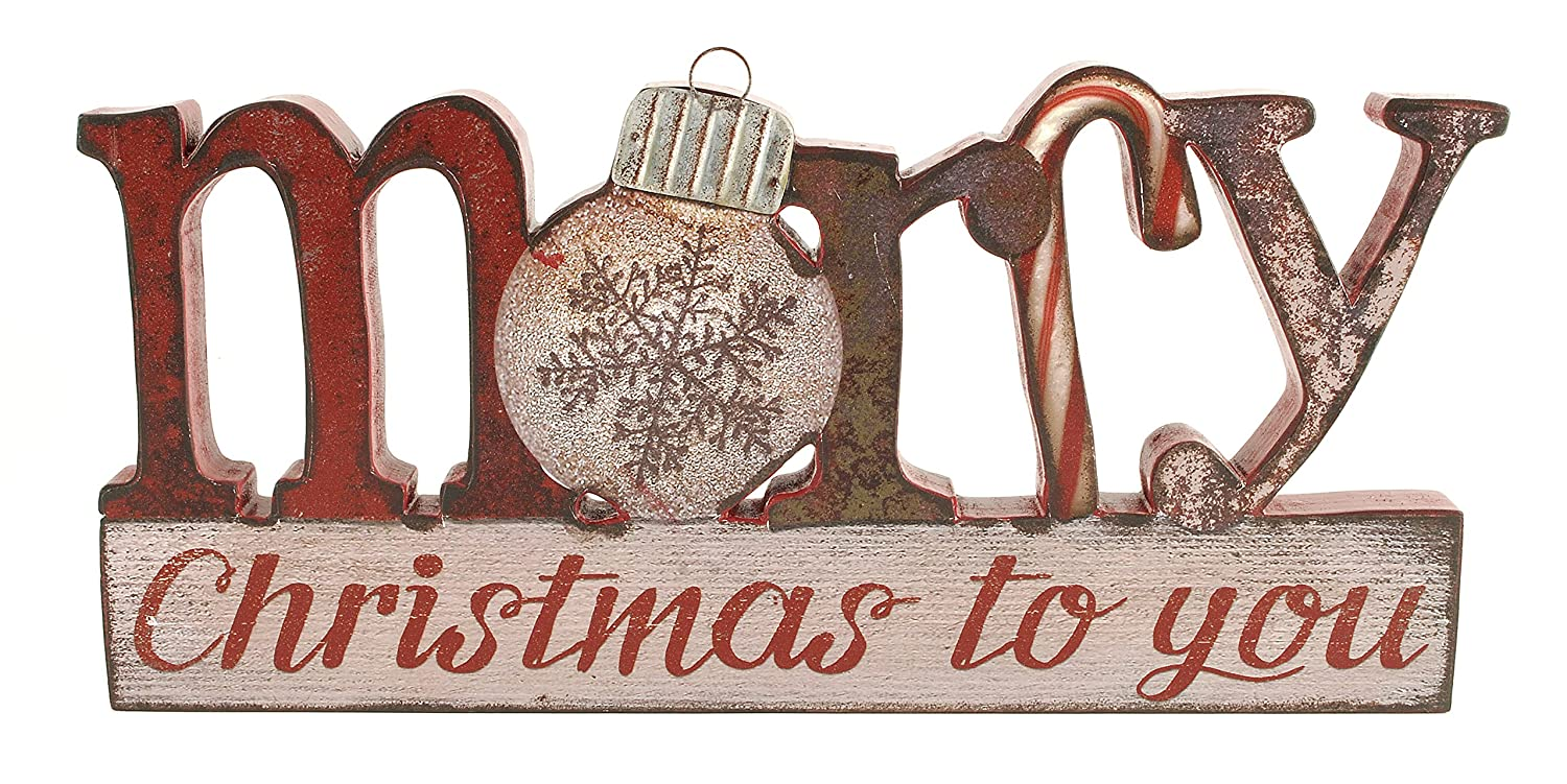 Merry Christmas to You 6 x 12.5 inch Wood and Tin Table Top Sign Plaque Blossom Bucket