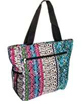 Silverhooks Womens Boho Patchwork Beach Tote Bag w/ Black Trim (Multi Color)