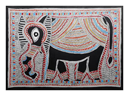 Vishwakarma Mithila Painting Wooden Craft Paper Elephants Painting