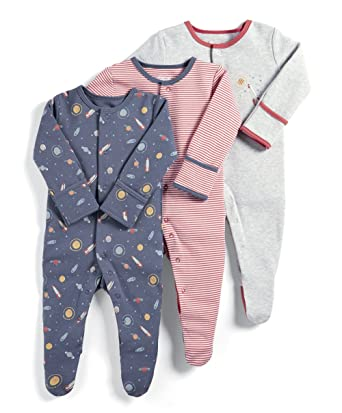 5d12fa42d Mamas and Papas Baby Boys  3 Pack Space Sleepsuits Footies