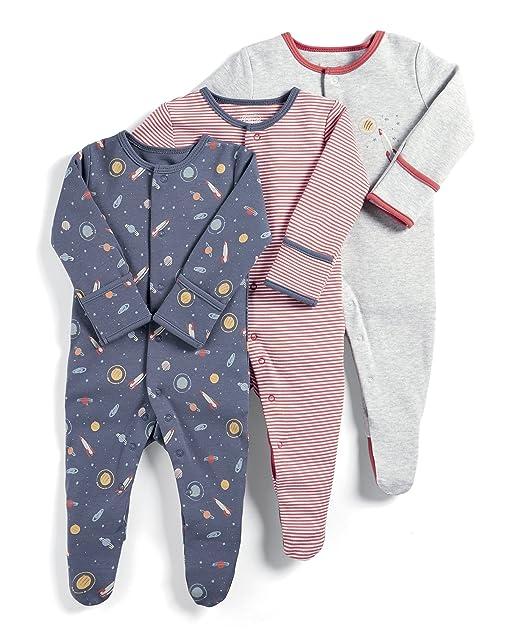Mamas & Papas 3 Pack Space Sleepsuits, Pelele para Bebés, Azul (Blue S79FFM0