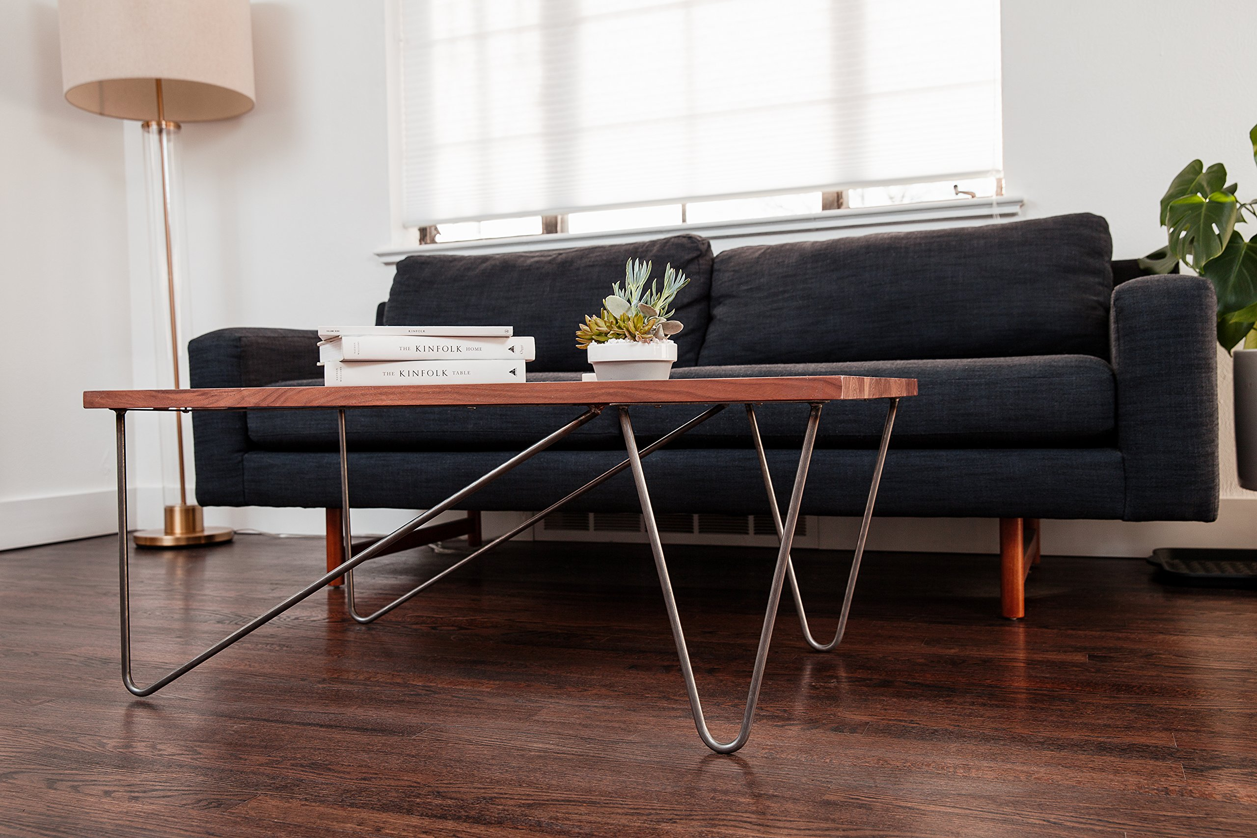 Off Set Hairpin Coffee Table Leg Set steel, Industrial raw metal finish - 16'' height, 1/2'' diameter - Perfect for DIY!