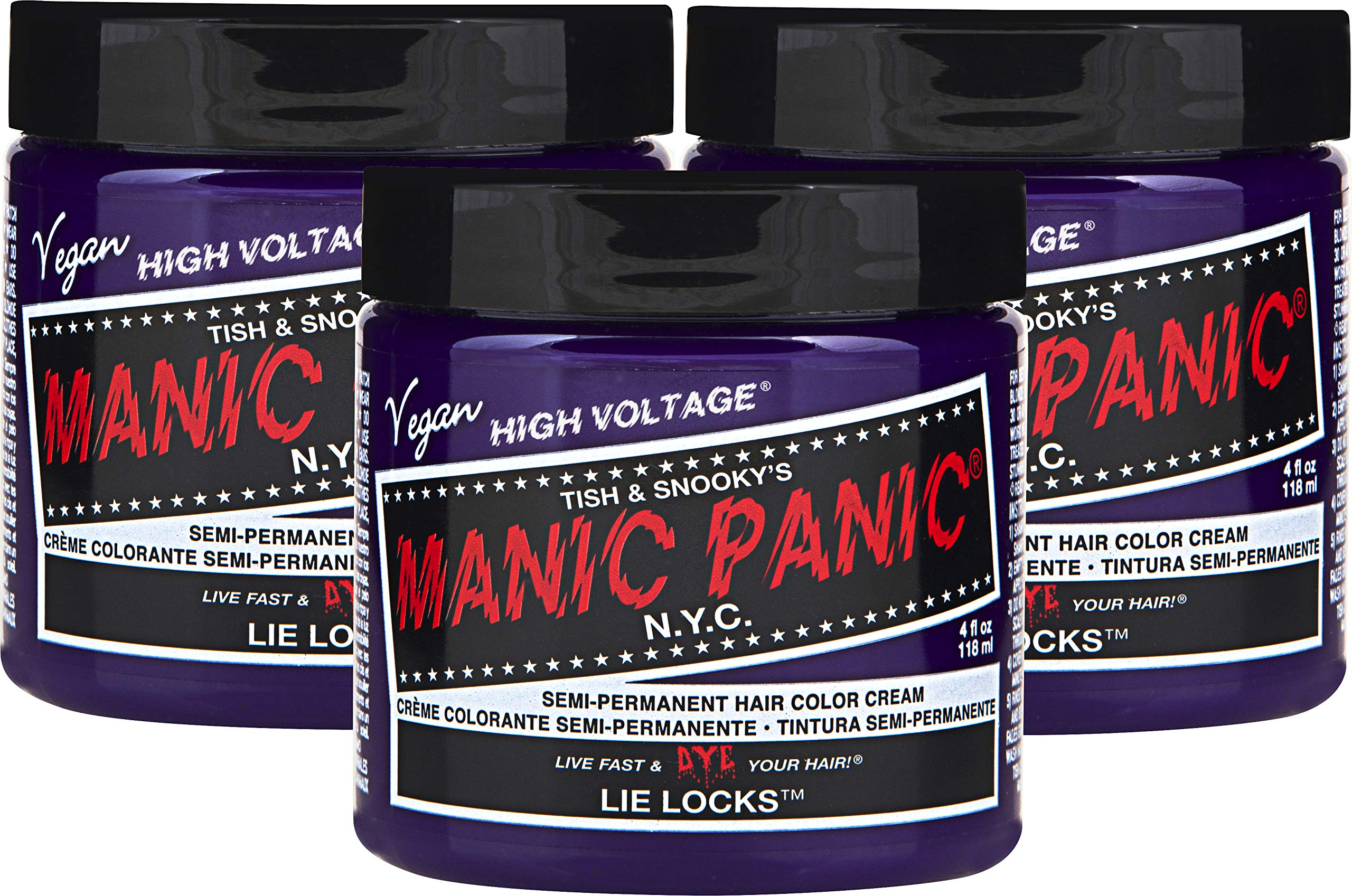 Manic Panic Lie Locks Purple Hair Color Cream (3-Pack) Classic High Voltage Semi-Permanent Hair Dye - Vivid, Purple Shade For Dark or Light Hair. Vegan, PPD & Ammonia-Free Ready-to-Use No-Mix Coloring by MANIC PANIC