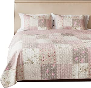 SLPR Secret Garden 3-Piece Real Patchwork Cotton Quilt Set (King) | with 2 Shams Pre-Washed Reversible Machine Washable Lightweight Bedspread Coverlet