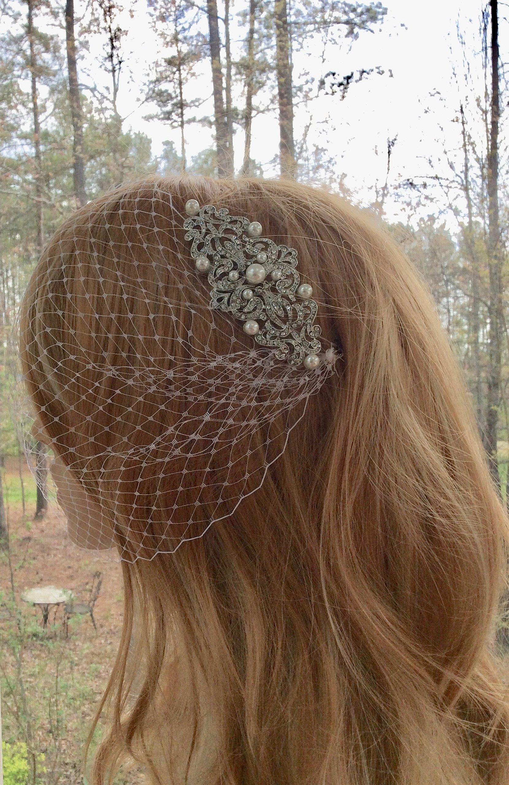 Bandeau Wedding Veil, Birdcage Bridal Veil With Rhinestone Pearl Comb
