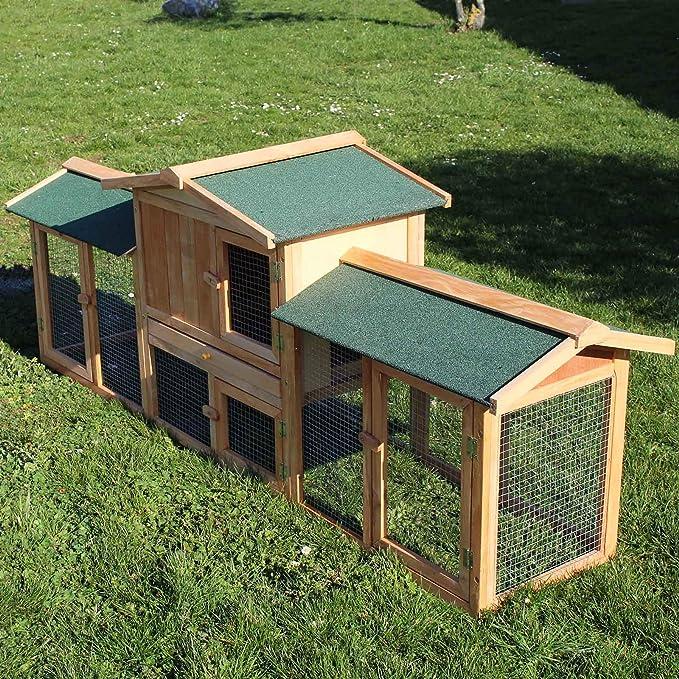 WilTec Conejera Corral Caseta Animales pequeños XXL Patio Exterior Zona Abierta Mascotas Conejo Chinchilla