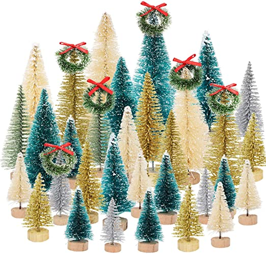 "12 Sisal bottle brush 2/"" wreath ornaments green w// frost Holiday miniatures"