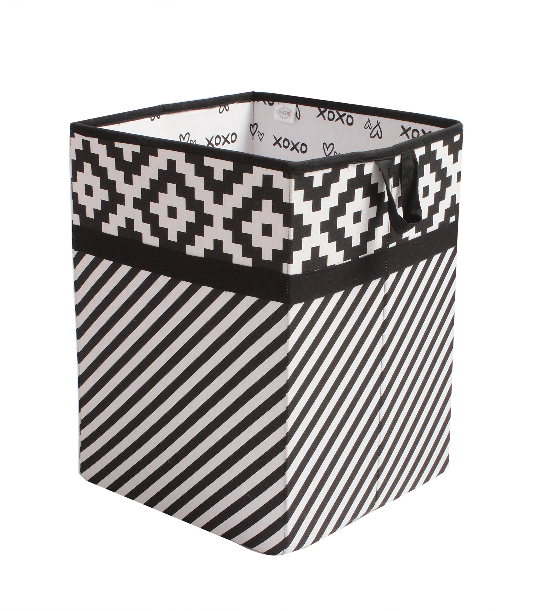 Bacati Love Fabric Collapsible Hamper, Black/white, 14'' x 14'' x 19''