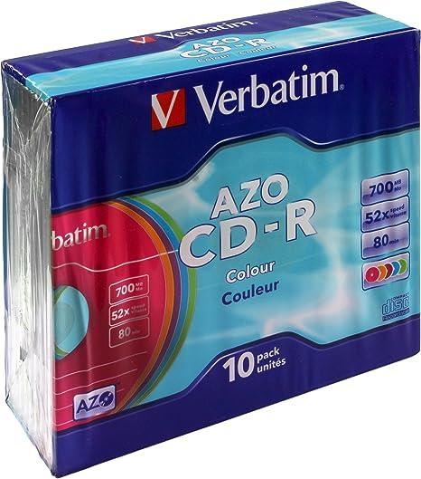 Verbatim AZO Colour Slim - Caja de 10 CD-R 52x 700 MB, Multicolor ...