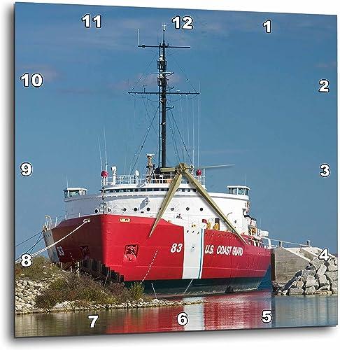 3dRose DPP_91244_2 MI, Straits of Mackinac, Coast Guard Icebreaker – US23 WBI0169 – Walter Bibikow – Wall Clock, 13 by 13-Inch