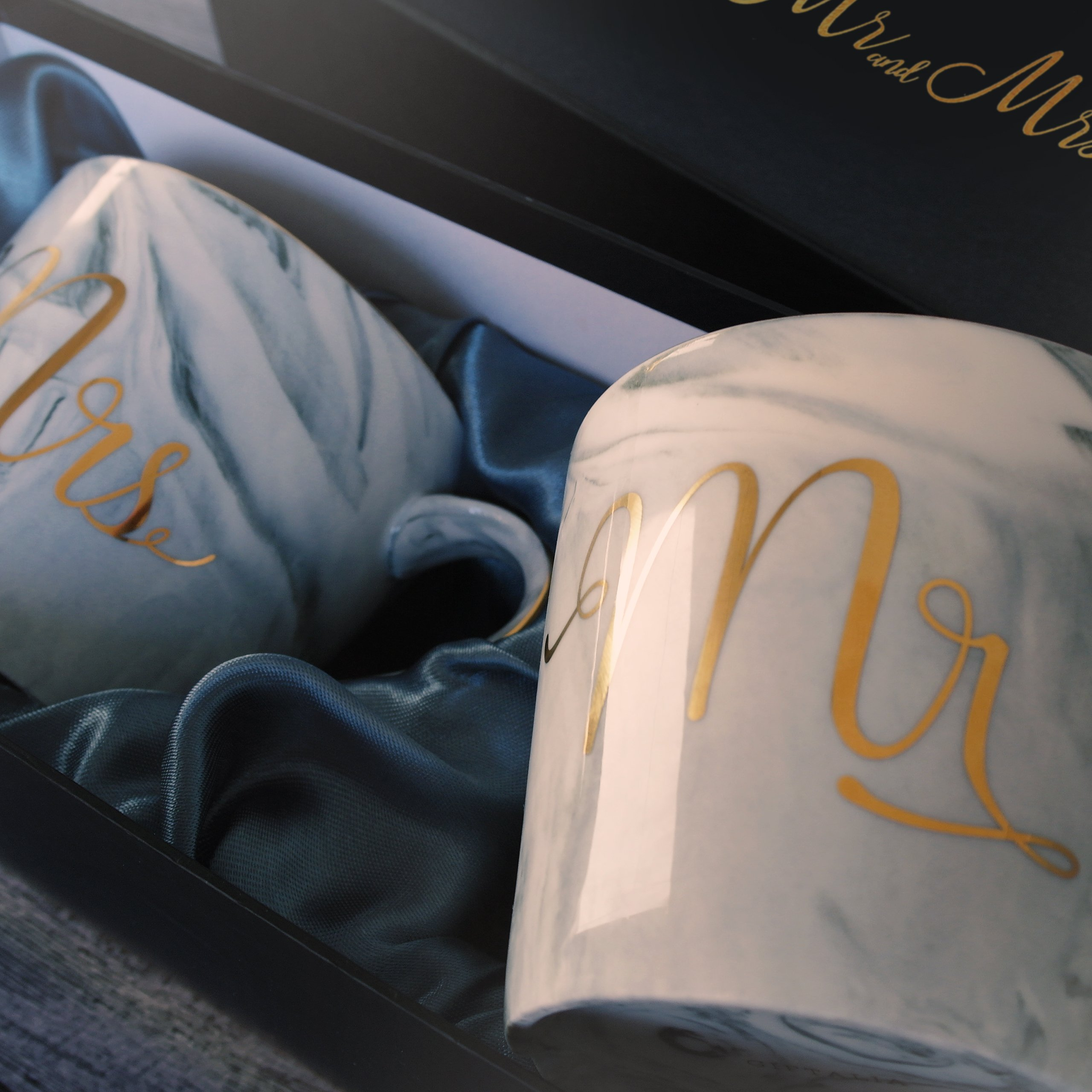 Wedding Gift - Mr and Mrs Mug Set - Classy and Elegant Gift Box with 2 Marble/Gold Tea or Coffee Cups - Beautiful Couples Anniversary, Engagement or Wedding Present for Bride and Groom - His and Her's by GIFTALIA (Image #6)