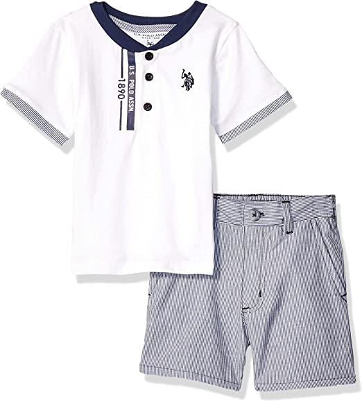and Short Set Boys 3 Piece Sleeve Henley T-Shirt U.S Tank Top Polo Assn