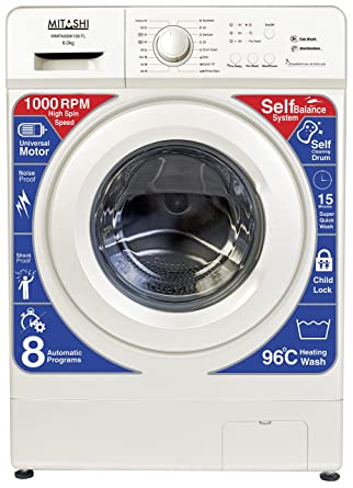 Mitashi 6 kg Fully-Automatic Front Loading Washing Machine (WMFA600K100 FL, White)