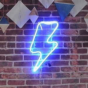 Lightning Bolt Neon Sign Remote Control Lightning LED Neon Signs Big Size Handmade Visual Artwork Home Wall Decor Light for Kids Room Designed by Vasten (Blue)