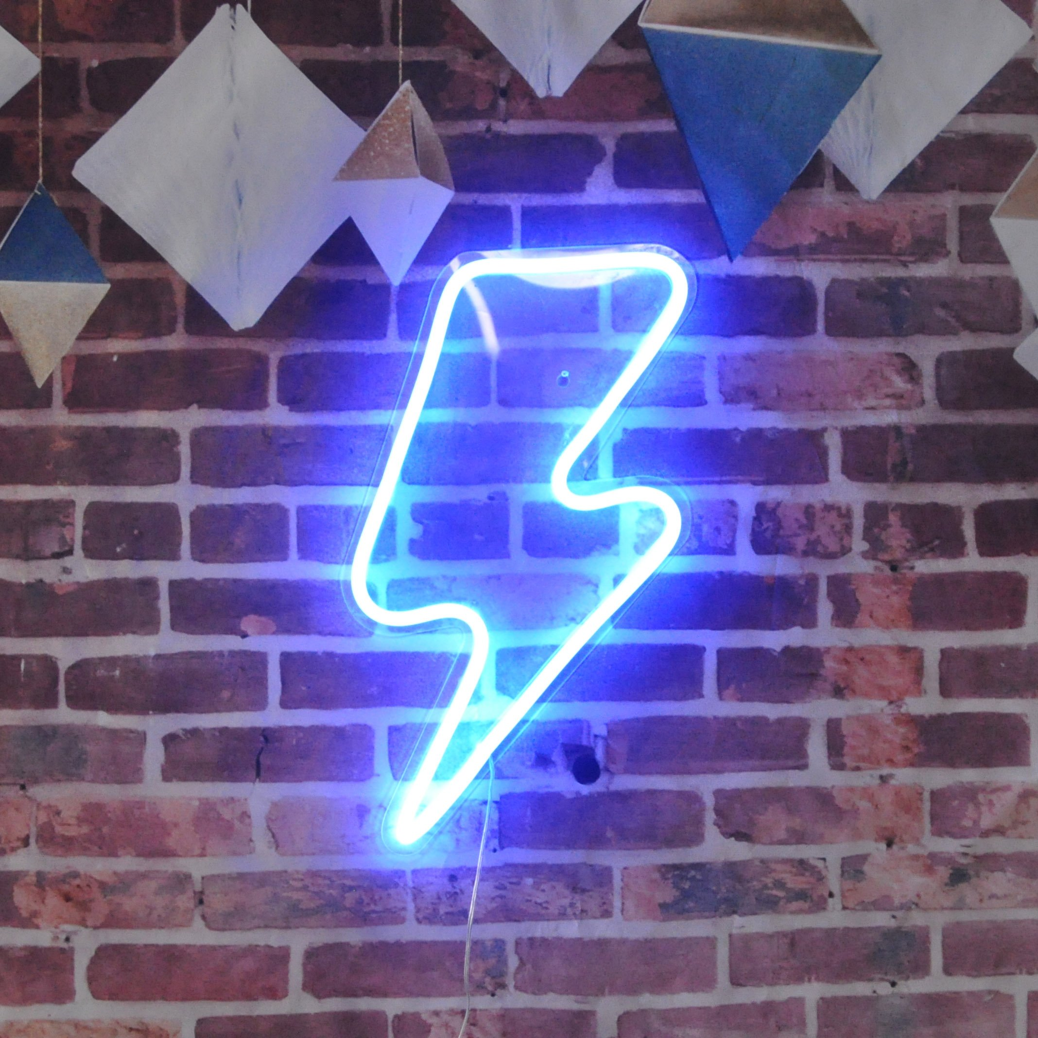Lightning Bolt Neon Sign Remote Control Lightning LED Neon Signs Big Size Handmade Visual Artwork Home Wall Decor Light For Kids Room Designed By Vasten (Blue)