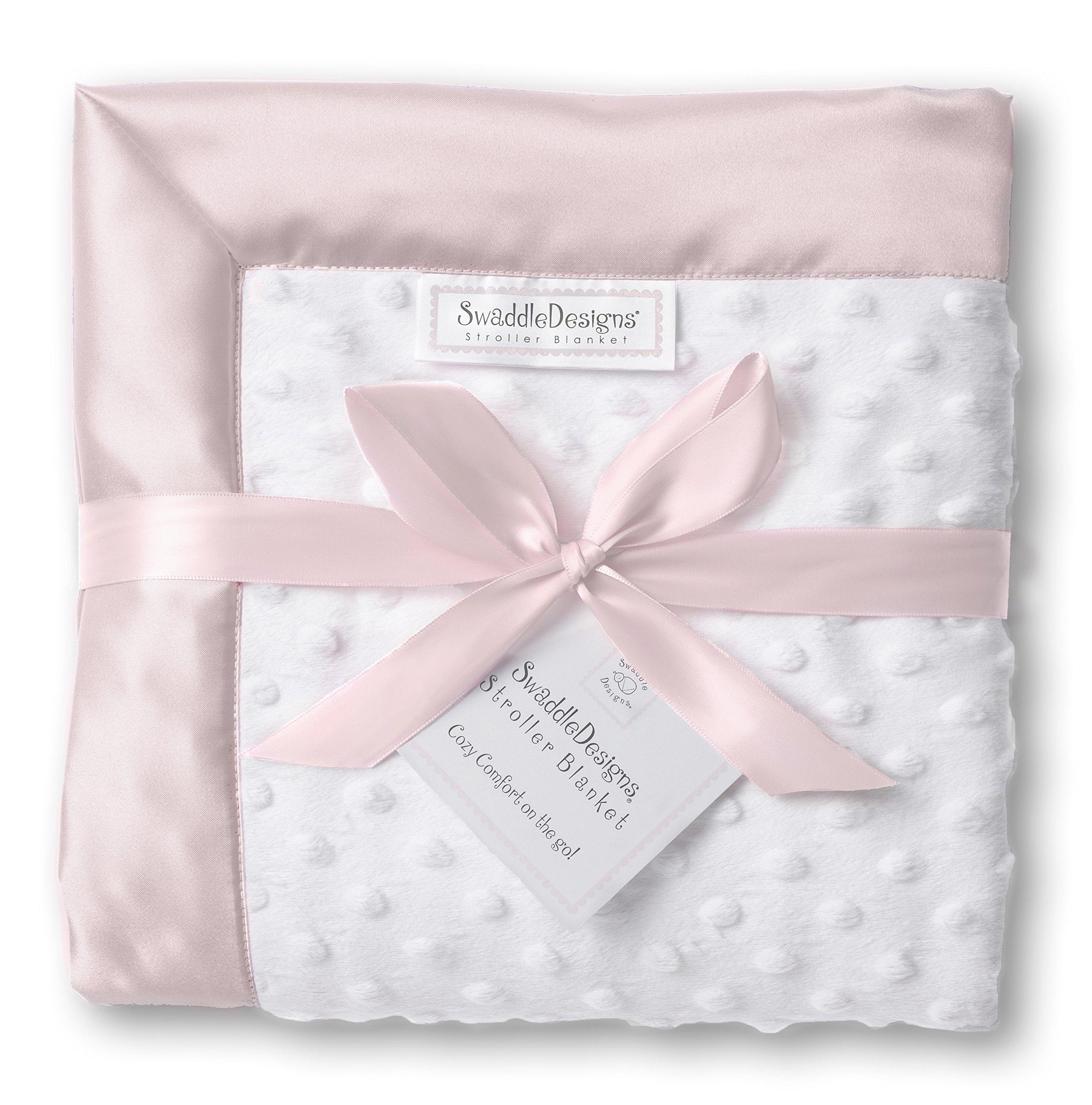 SwaddleDesigns Stroller Blanket, Cozy Microfleece, Plush Dots with Pastel Pink Satin Trim