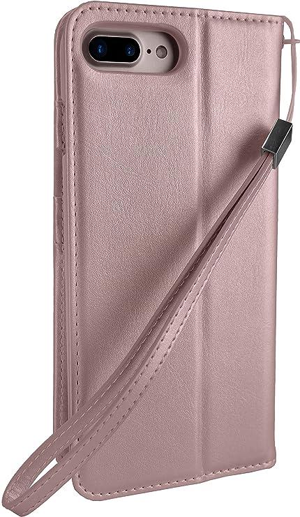 Amazon.com  Silk iPhone 7 Plus 8 Plus Wallet Case - FOLIO WALLET Synthetic  Leather Portfolio Flip Card Cover with Kickstand -