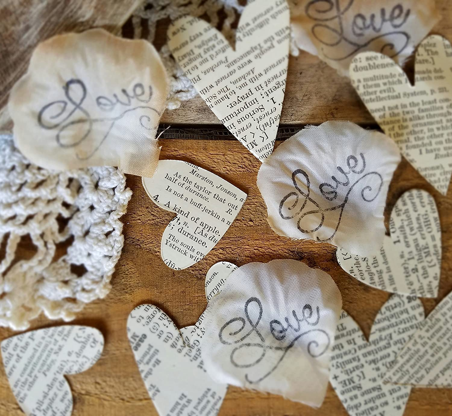 Large Bespoke Vintage Book Page Love Heart Wedding Table Decoration Event Confetti Table Scatters,
