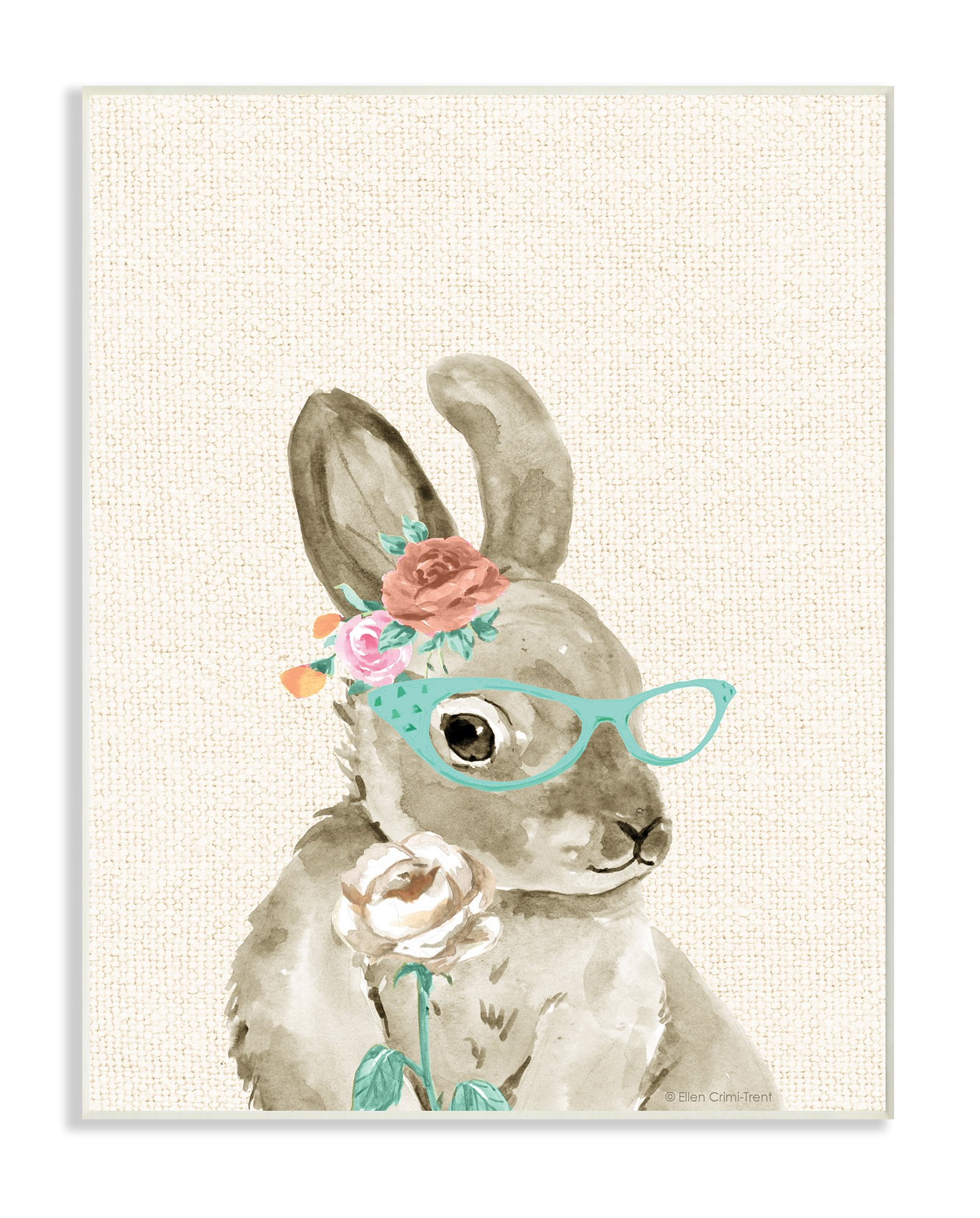 The Stupell Home Decor Collection Stupell Industries Woodland Bunny with Cat Eye Glasses Wall Plaque Art, 10 x 0.5 x 15, Proudly Made in USA