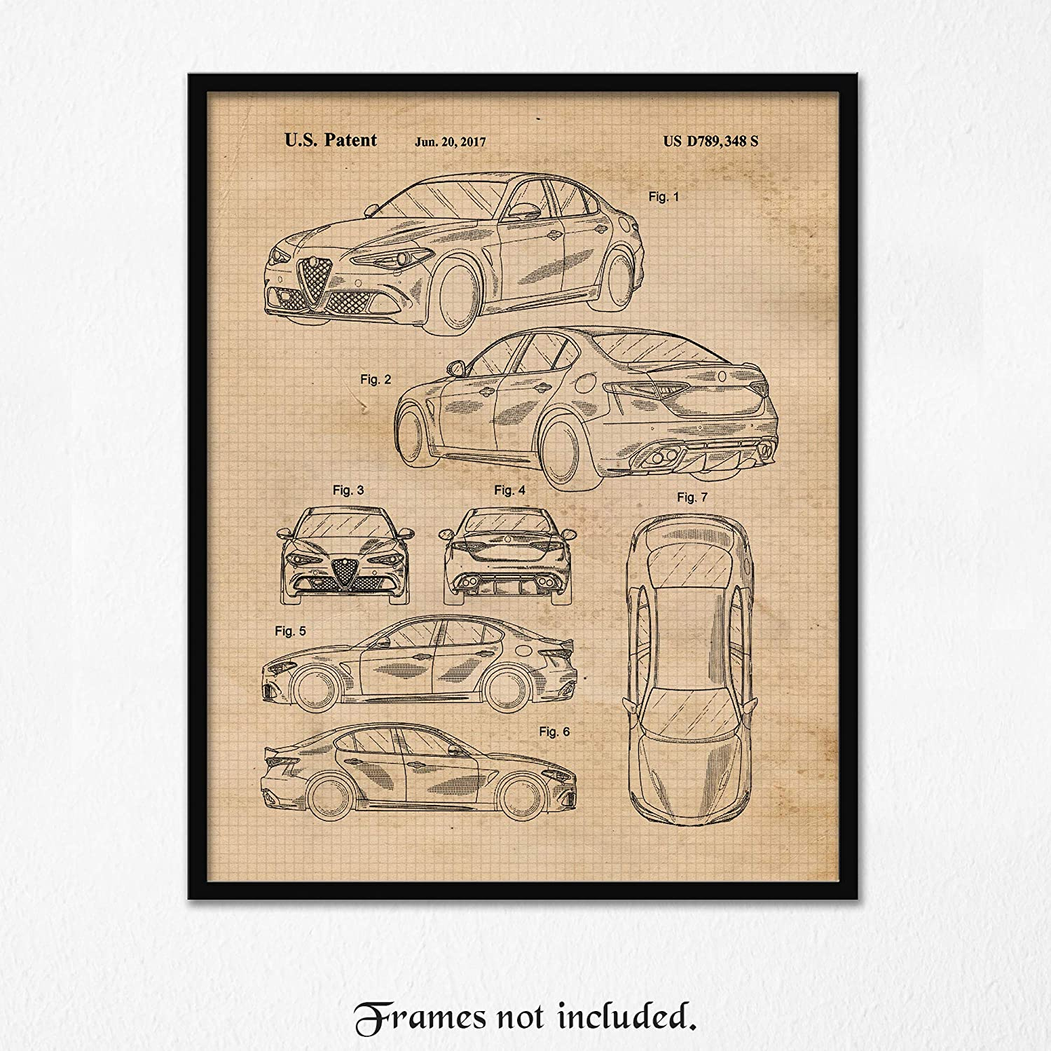 Vintage Alfa Romeo Giulia Patent Poster Prints, Set of 1 (11x14) Unframed Photo, Wall Art Decor Gifts Under 15 for Home, Office, Garage, Man Cave, College Student, Teacher, Italy Cars & Coffee Fan