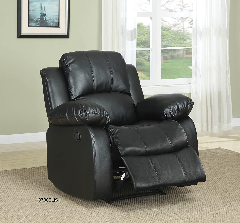 Amazon.com: Homelegance Double Reclining Sofa, Black Bonded ...