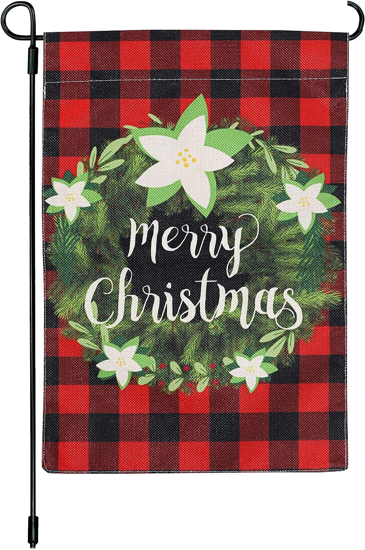 12.5 x 18 Inch Christmas Wreath Garden Flag Merry Christmas Flag Burlap Vertical Double Sided Buffalo Check Plaid Garland Outdoor Xmas Flag Home Decorations