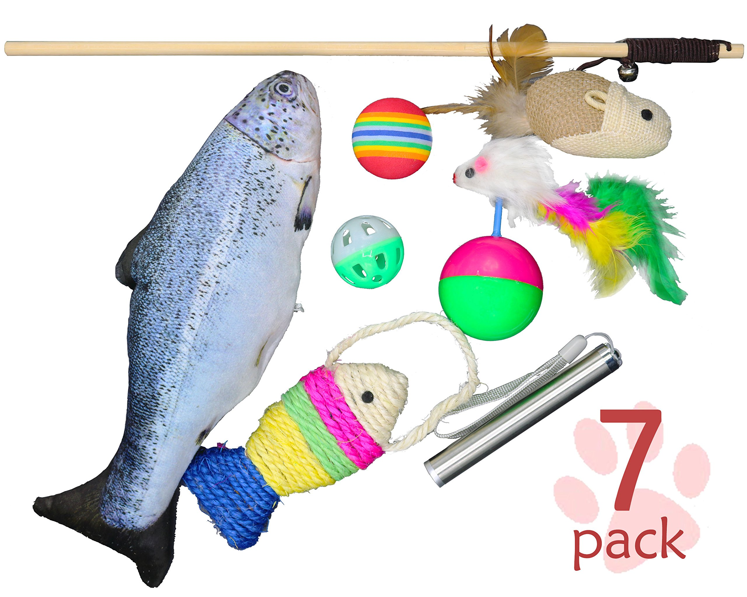 Lovely Cat Toys Set of 7. Variety Interactive Kitten Toys with Cat Teaser Wand, Catnip Fish, Sisal Rope Weave Fish, Feather Mouse Interactive Teaser Ball, Colorful Soft Foam Rainbow Ball, Jingle Balls