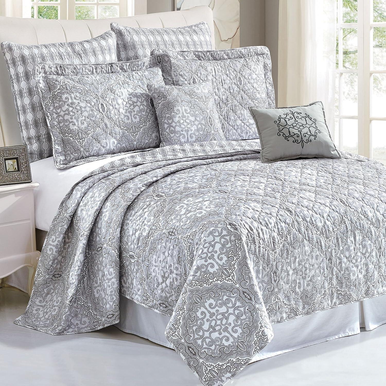 Serenta 7 Piece Printed Microfiber Bedspread Quilts Set, Queen Melody