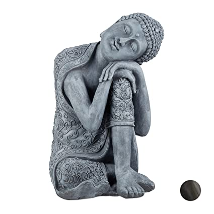 Relaxdays Buddha Figur geneigter Kopf, XL 60cm, Asia Deko, Gartenfigur,  Dekofigur Wohnzimmer, Keramik, wetterfest, grau