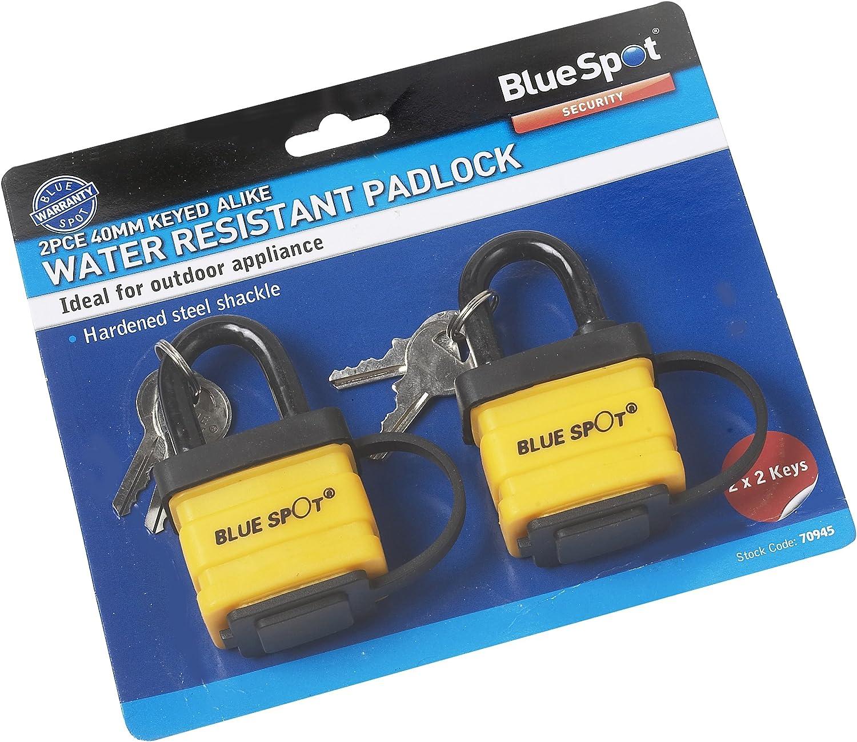 Blue Spot 70945 40mm Keyed Alike Waterproof Padlock 2 Pieces