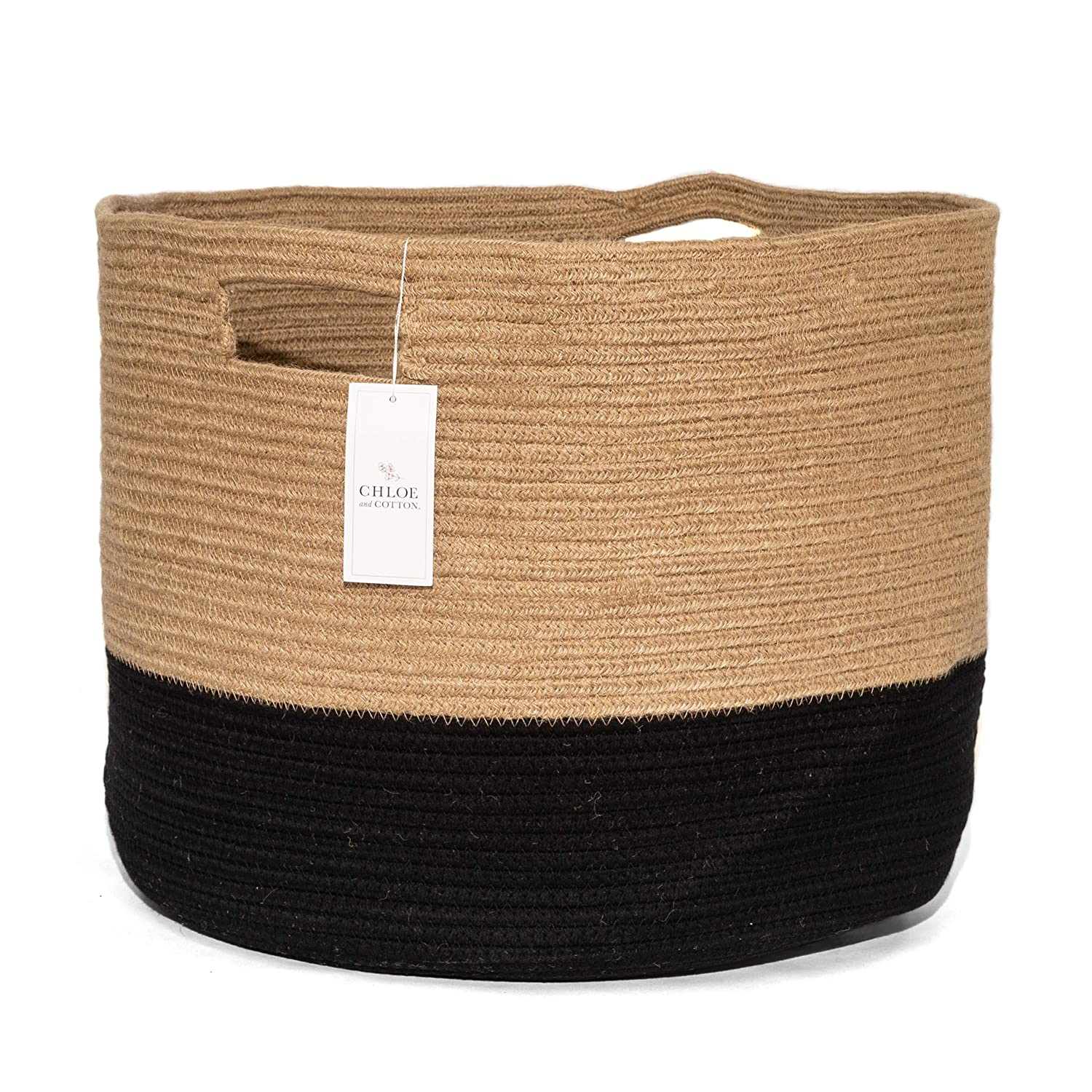 Chloe and Cotton XXXL Extra Large Woven Rope Storage Basket 15 x 21 inch Jute Black Handles | Decorative Laundry Clothes Hamper, Blanket, Towel, Baby Nursery Diaper, Toy Bin Cute Collapsible Organizer