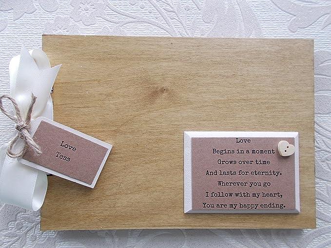 Amazon Personalised Couples Romance Wooden Scrapbookphoto Book