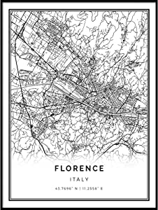 Squareious Florence map Poster Print | Modern Black and White Wall Art | Scandinavian Home Decor | Italy City Prints Artwork | Fine Art Posters 11x14