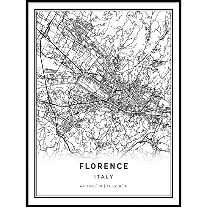 Black And White Map Of Italy.Amazon Com Squareious Florence Map Poster Print Modern Black And
