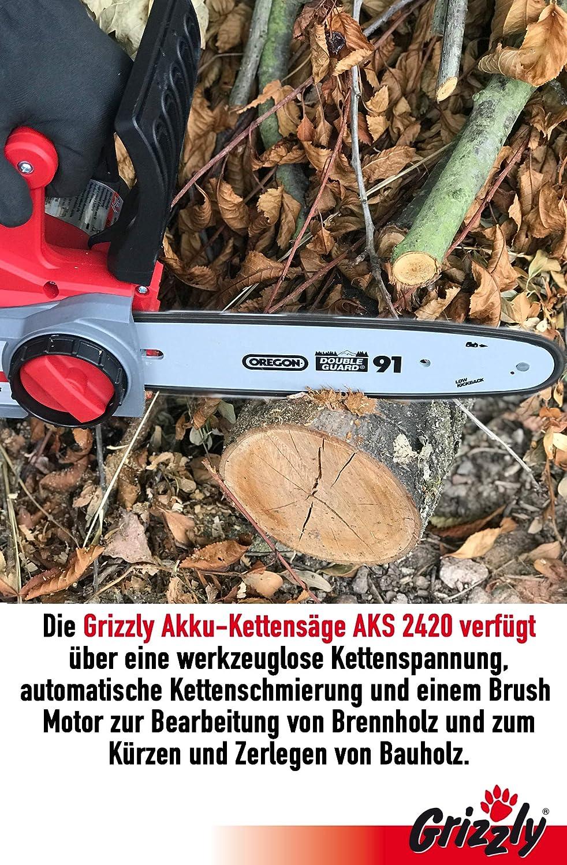 Ohne Akku /& Ladegerät Oregon Kette /& Schwert Grizzly Akku Kettensäge AKS 2440