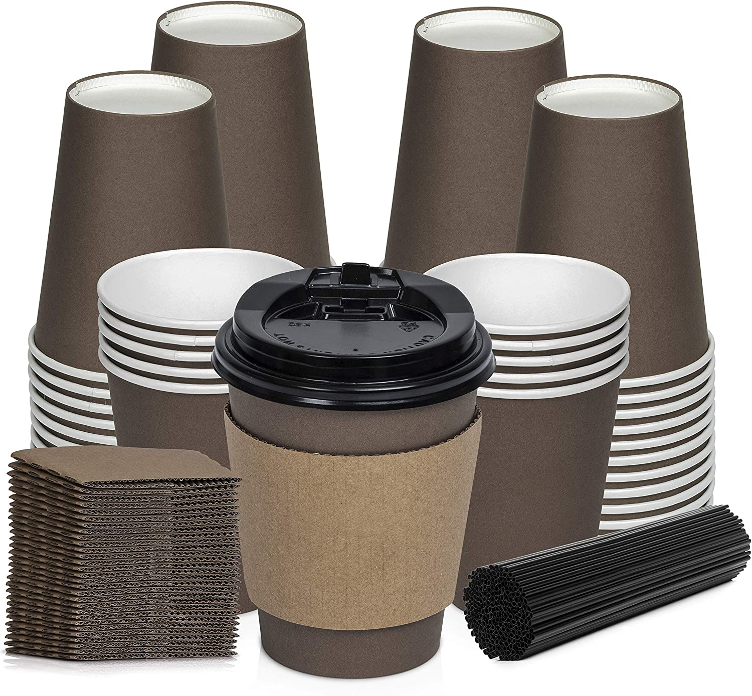 100 Pack Disposable Coffee Cups with Lids, Straws, Sleeves - Premium Quality To Go Coffee Cups - Leak proof, Sturdy, Durable, Easy to hold (Mocha Brown, 12OZ)