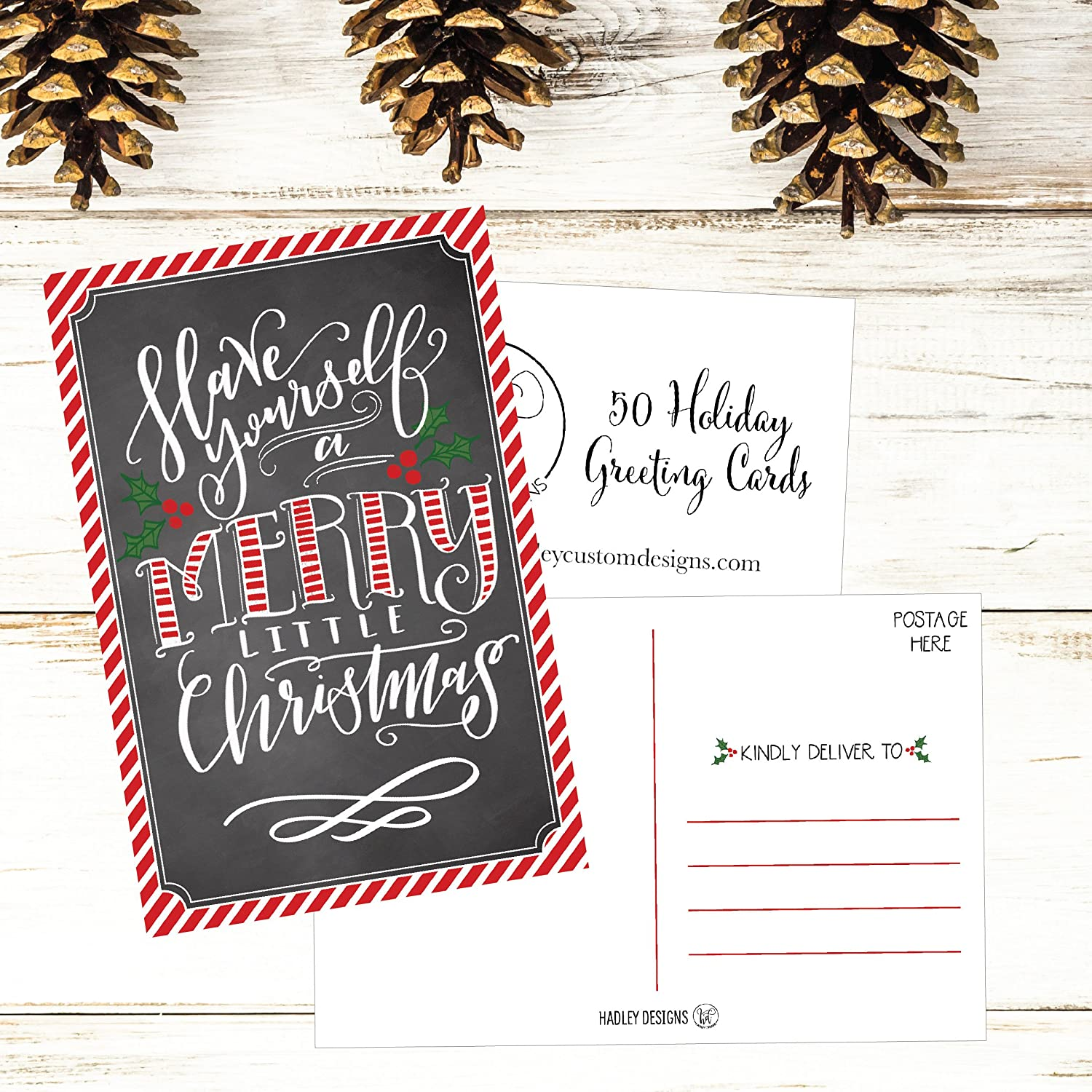 50 Holiday Greeting Cards Cute Fancy Blank Winter Christmas Postcard Set Bulk Pack Of Premium Seasons Greetings Note Happy New Years Cards For