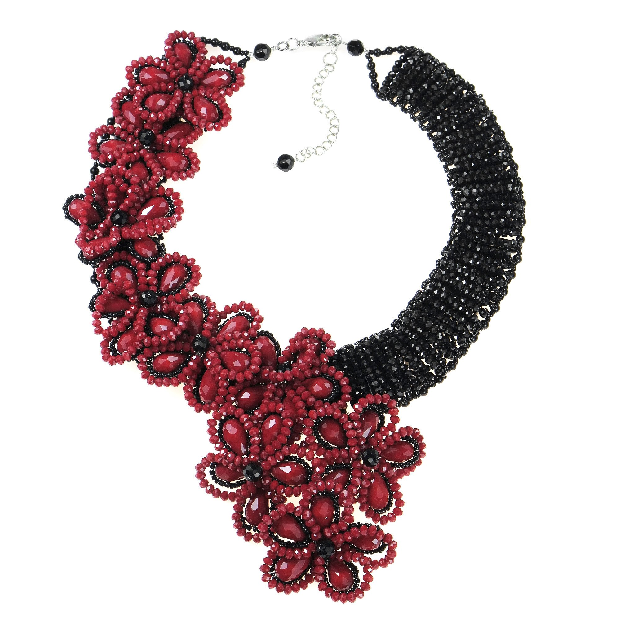 AeraVida Infinite Blossoms Black-Red Fashion Crystals and Fashion Beads on Base Metal Jewerly Wire Statement Necklace