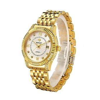 3af5ac1cc1 腕時計 ゴールド メンズ BINLUN スタンダード 機械式 自動巻き 防水 シンプル ダイヤモンド入り シースルーバック 金
