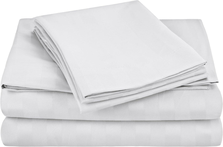 Cathay Home, Inc Luxury Dobby Stripes Sheet Set, Twin, White