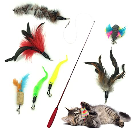 Gato Rectificable Toy Wand, PietyPet Recargas múltiples Gato Pluma Juguete Interactivo Gato Varita Rematador y