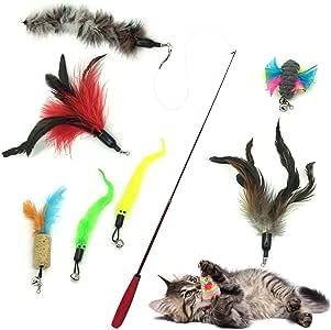 PietyPet Gato Rectificable Toy Wand, Recargas múltiples Gato Pluma Juguete Interactivo Gato Varita Rematador y ejercitador con Gato y Gatito Kitty, 8 Piezas: Amazon.es: Productos para mascotas
