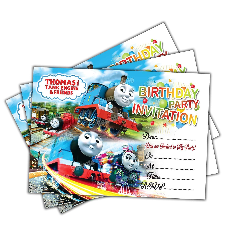 20 x THOMAS THE TANK ENGINE Kids Birthday Party Invitations Cards ...