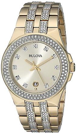 747a270eb Amazon.com: Bulova Men's 98B174 Swarovski Crystal Gold Tone Watch ...