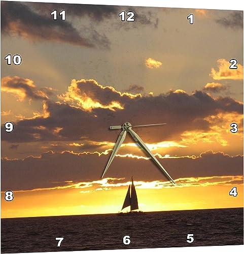3dRose Sailboat at Sunset Sailing Boat Ship with Sails at Sea Ocean Yellow Sailor Sail Nautical Photography – Wall Clock, 15 by 15-Inch DPP_112954_3