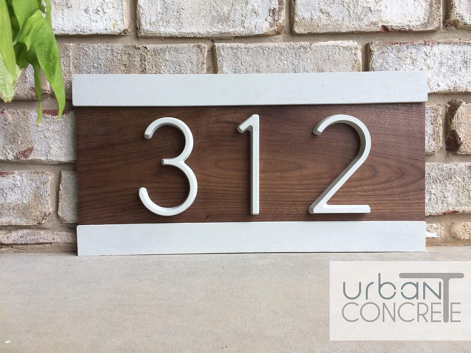 Modern house numbers house numbers sign modernwood and concrete address plaque custom house address sign realtor closing gift